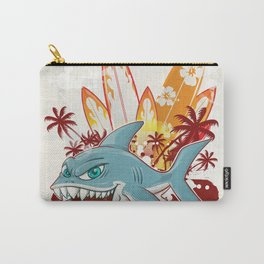 shark character cartoon over surfboard Carry-All Pouch