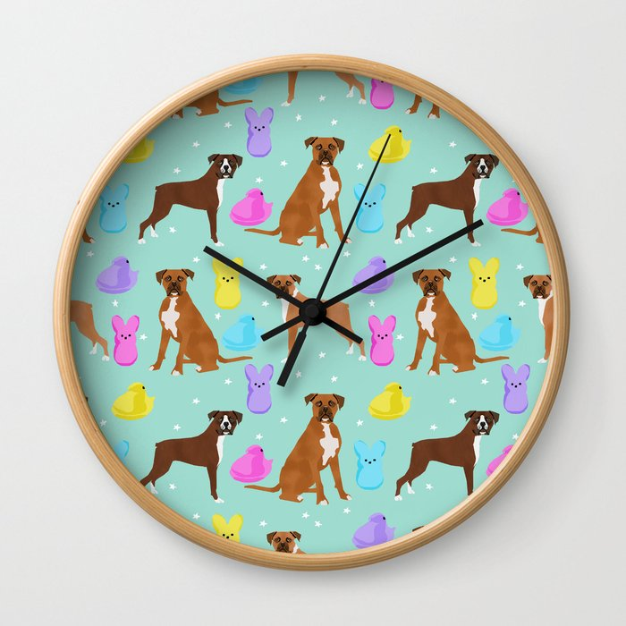 Boxer dog breed marshmallow peeps easter spring traditions cute dog breed gifts boxers Wall Clock