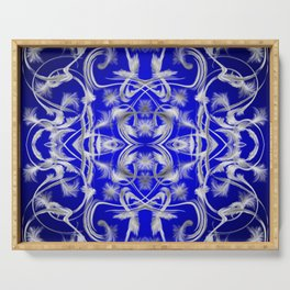 silver and blue Digital pattern with circles and fractals artfully colored design for house Serving Tray