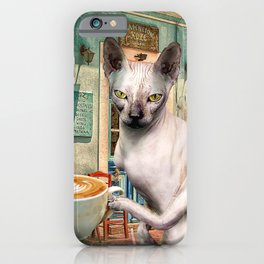 Sphynx Hairless Cat With Coffee iPhone Case
