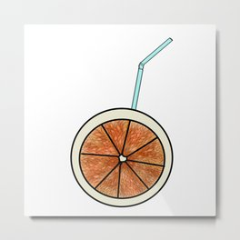 bright orange and cocktail straw Metal Print