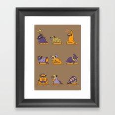 Pug Yoga Halloween Monsters Framed Art Print