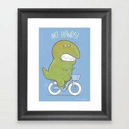 T-Rex tries biking Framed Art Print