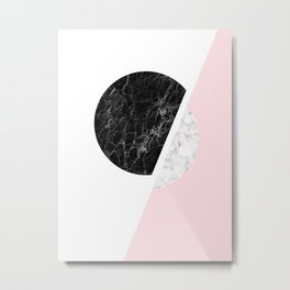 Black And Pink Modern Scandinavian Minimalist Art Metal Print