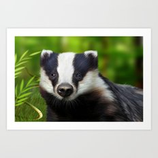 Badger Art Print