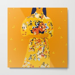 Kimono fleuri Metal Print