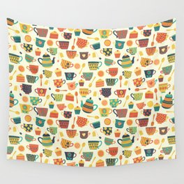 Vintage tea party - tea cups and sweets beige Wall Tapestry