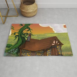 Jack and the Beanstalk Cottage in the evening Rug