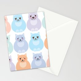 set funny cats, pastel colors on white background Stationery Cards