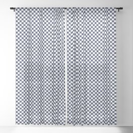 Dark Sargasso Blue and White Mini Check 2018 Color Trends Sheer Curtain