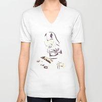 dark side V-neck T-shirts featuring Dark Side by yortsiraulo