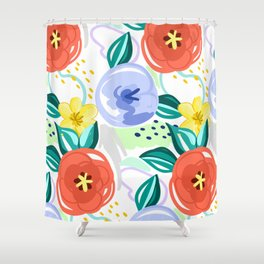 Flowers red pattern Shower Curtain