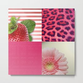 Girly Square Collage Strawberry Leopard Flower Metal Print
