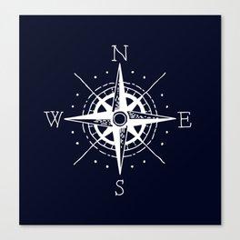 Navy Nautical - White Compass Canvas Print