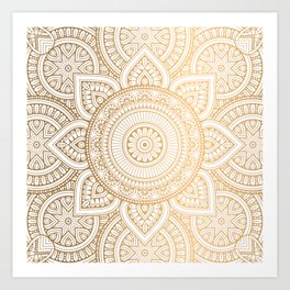 Gold Mandala Pattern Illustration With White Shimmer Art Print