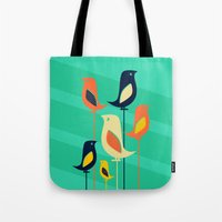 mid century Tote Bags featuring Mid Century Birds by Sam Osborne