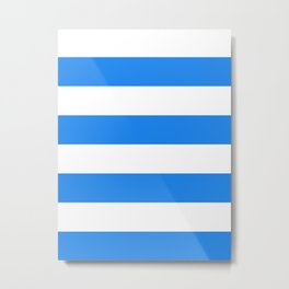 Wide Horizontal Stripes - White and Dodger Blue Metal Print