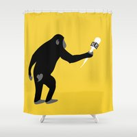 business Shower Curtains featuring Monkey Business! by deificus Art