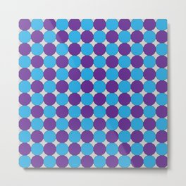 Blue and Purple Blue Dodecagons on Silver Metal Print
