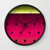 watermelon Wall Clocks featuring Watermelon by Kakel