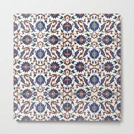 Iznik Pattern Red Blue White Metal Print