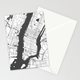 New York City White on Gray Street Map Stationery Cards