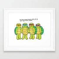 teenage mutant ninja turtles Framed Art Prints featuring Teenage Mutant Ninja Turtles by Tyler Feder