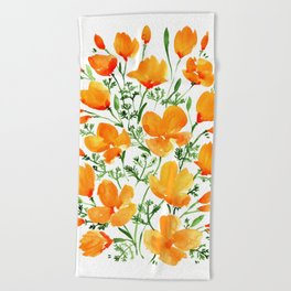 Watercolor California poppies Beach Towel