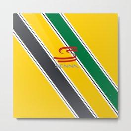 Ayrton Senna Stripes Logo Metal Print