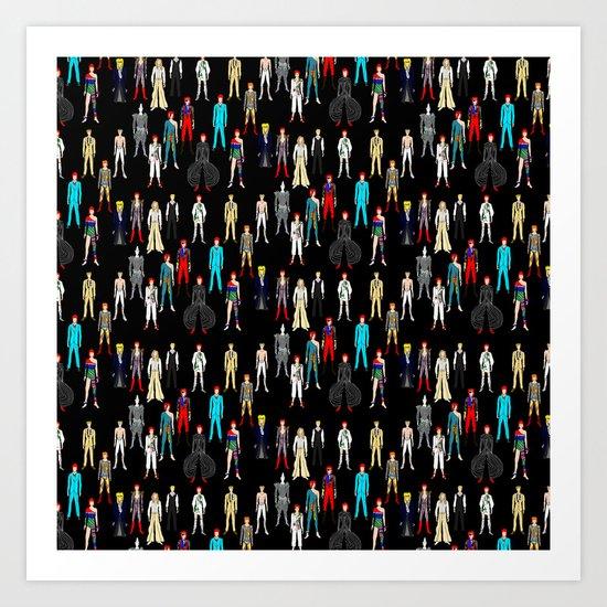 Bowie Scattered Pattern Black Art Print