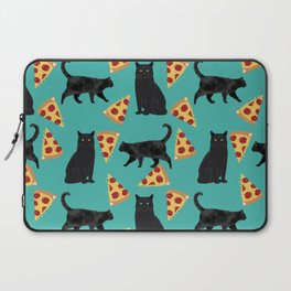 black cat pizza cat lover pet gifts cute cats Laptop Sleeve
