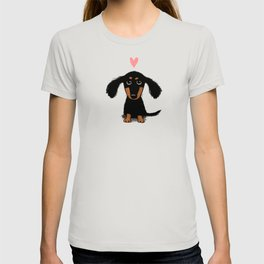 Dachshund Love | Cute Longhaired Black and Tan Wiener Dog T-shirt