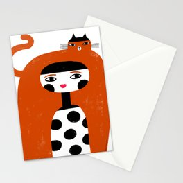 ORANGE LONG HAIR Stationery Cards