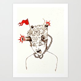 Help! I've got a fort on ma head! Art Print