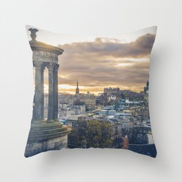 Edinburgh city and castle from Calton hill and Stewart monument Throw Pillow
