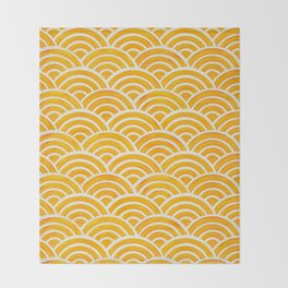 Japanese Seigaiha Wave – Marigold Palette Throw Blanket