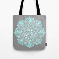 bedding Tote Bags featuring Teal and Aqua Lace Mandala on Grey by micklyn