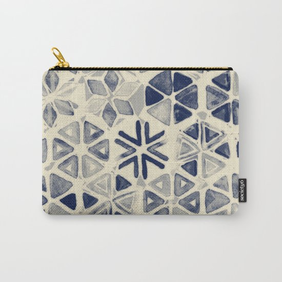 Hand Painted Triangle & Honeycomb Ink Pattern - indigo & cream Carry-All Pouch