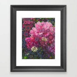 Pink Flowers at Twilight Abstract Framed Art Print