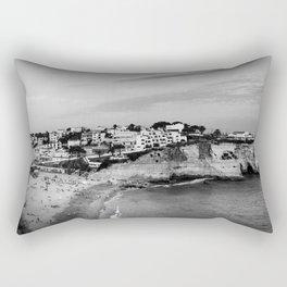 Carvoeiro town and beach in Lagoa, Algarve, Portugal. Black and White. Rectangular Pillow