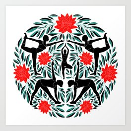 31c570e6ba0d0 Yoga Girls Illustration with Lotus Flowers and Leaves // Red and Green Art  Print