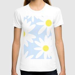 Beautiful White Retro Daisy Flowers Pastel Blue Background #decor #society6 #buyart T-shirt