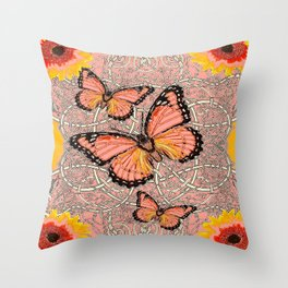 CORAL COLORED MONARCH BUTTERFLIES FANTASY ART Throw Pillow
