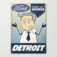 detroit Canvas Prints featuring Detroit by Sophie Broyd