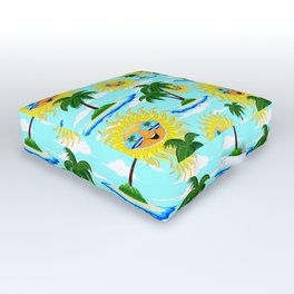 Happy Summer Sun and Tropical Island Outdoor Floor Cushion