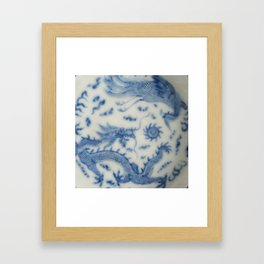 Damask vintage Monaco blue white girly ginger jar floral antique chinese dragon chinoiserie china Framed Art Print
