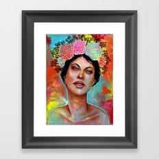 Flower Rainbow Girl in Mixed Media Framed Art Print