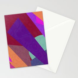 Multi Colored Red Purple Orange Geometric Abstact Stationery Cards