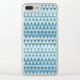 Retro Abstract Blue Aztec Zigzag Mosaic Pattern Clear iPhone Case