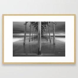 Kure Beach Pier Black White Framed Art Print